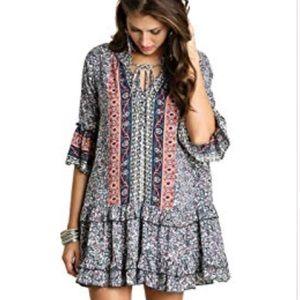 NWOT UMGEE | printed floral ruffle tunic dress